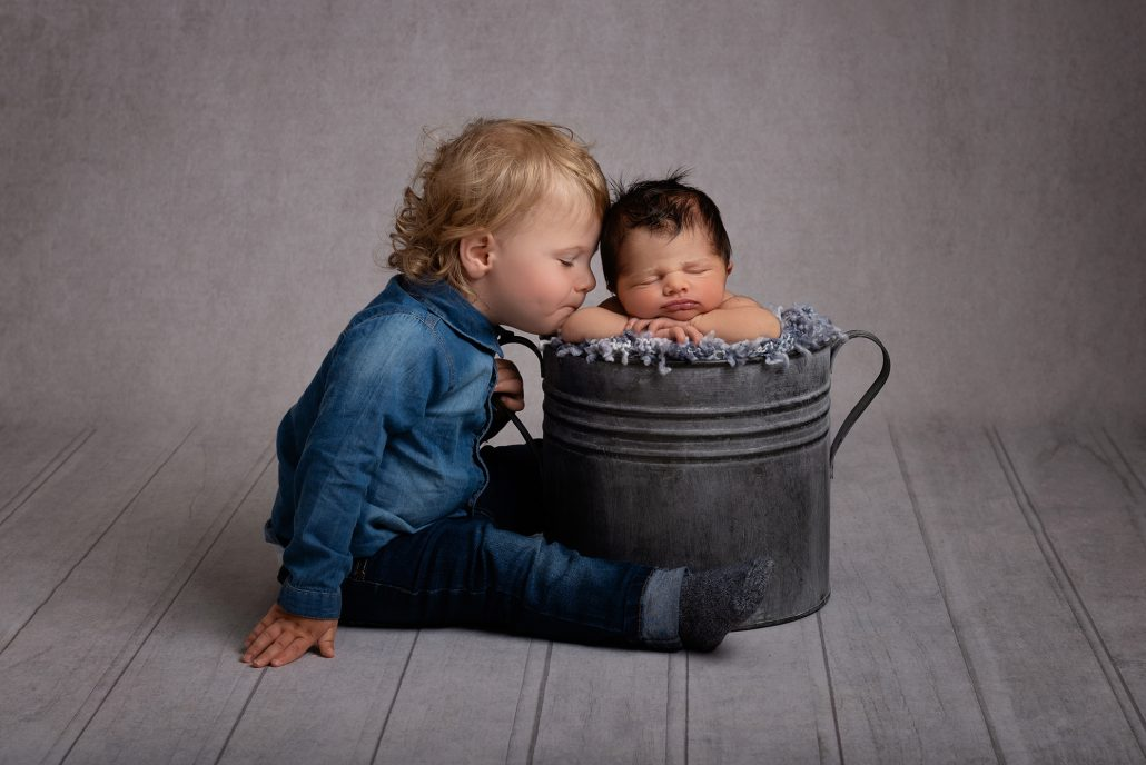 Sibling photography, big brother, newborn, baby boy